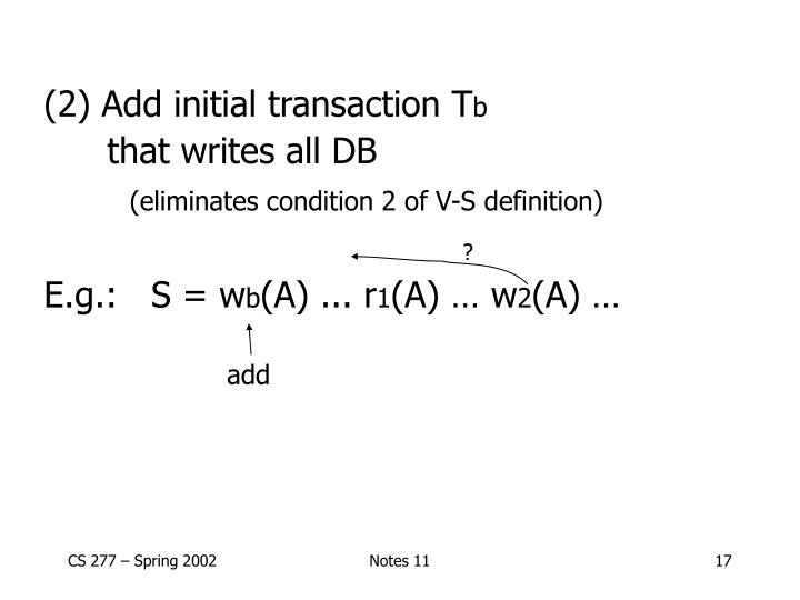 (2) Add initial transaction T
