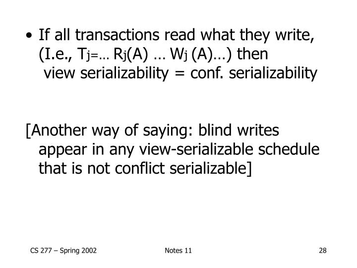 If all transactions read what they write, (I.e., T