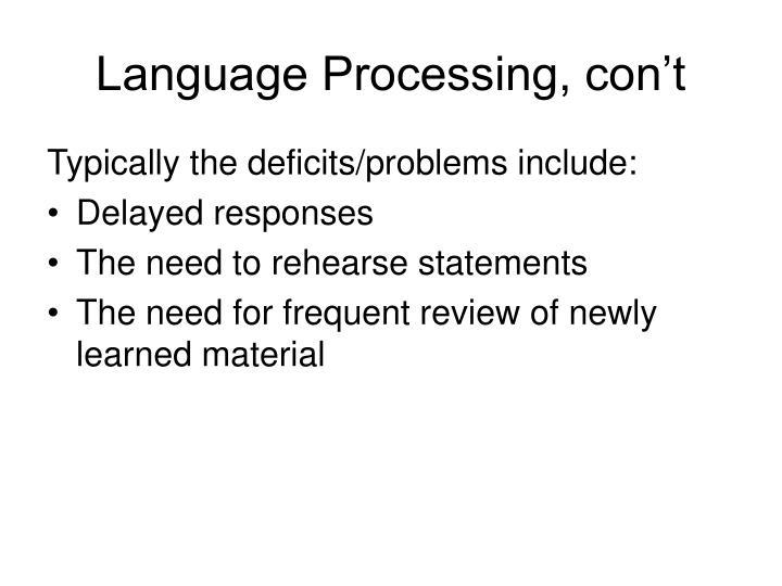 Language Processing, con't
