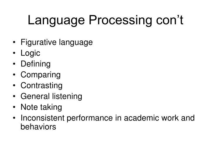Language Processing con't