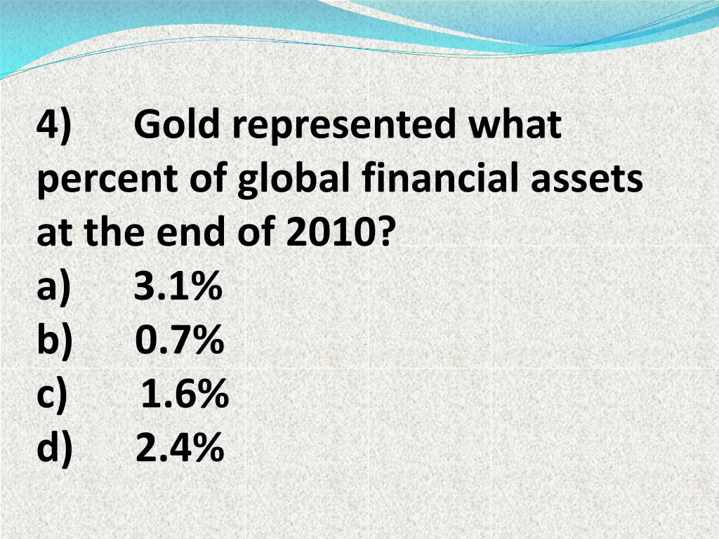 4)      Gold represented what percent of global financial assets at the end of 2010?