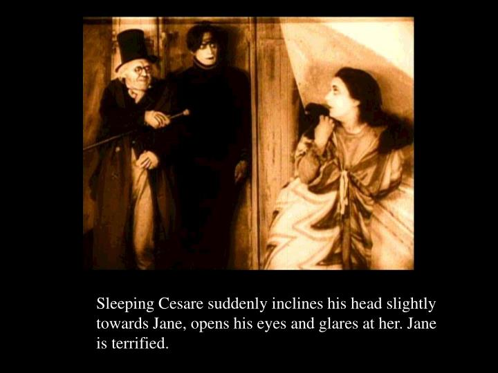 Sleeping Cesare suddenly inclines his head slightly towards Jane, opens his eyes and glares at her. Jane is terrified.