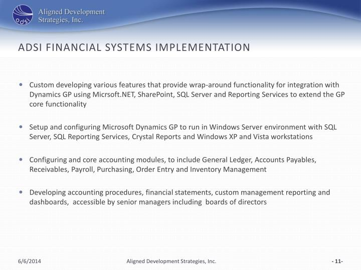 ADSI Financial Systems Implementation