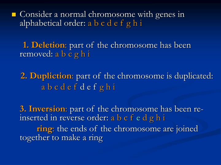 Consider a normal chromosome with genes in alphabetical order: