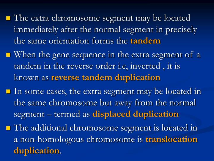 The extra chromosome segment may be located immediately after the normal segment in precisely the same orientation forms the