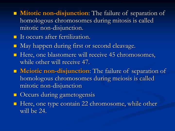 Mitotic non-disjunction