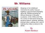 mr williams