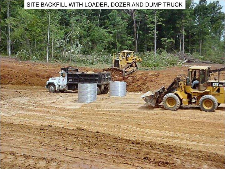 SITE BACKFILL WITH LOADER, DOZER AND DUMP TRUCK