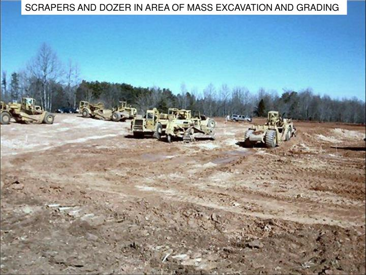 SCRAPERS AND DOZER IN AREA OF MASS EXCAVATION AND GRADING