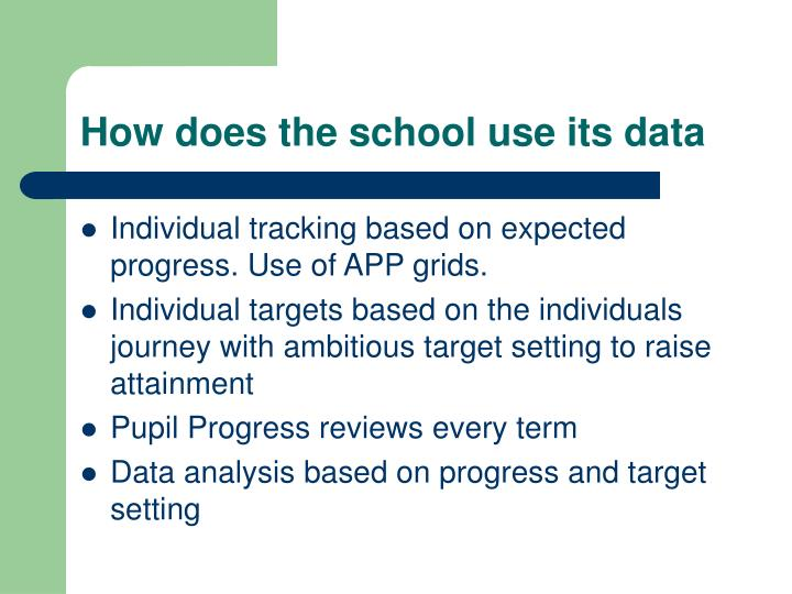 How does the school use its data