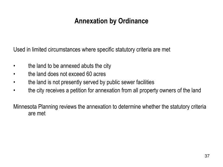 Annexation by Ordinance