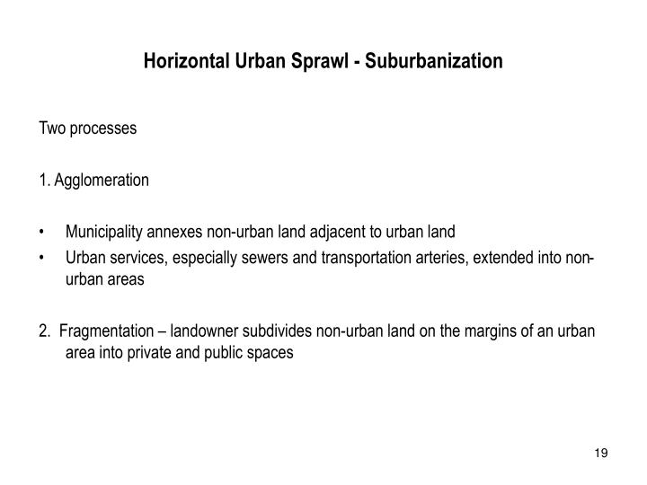 Horizontal Urban Sprawl - Suburbanization