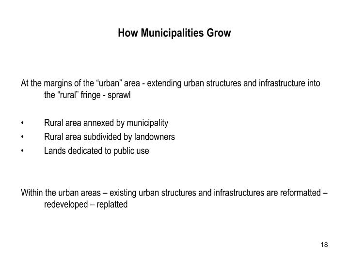 How Municipalities Grow