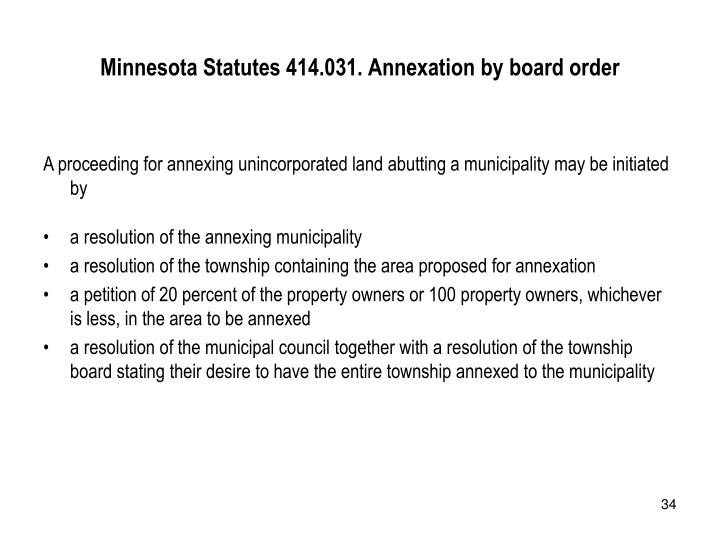 Minnesota Statutes 414.031. Annexation by board order