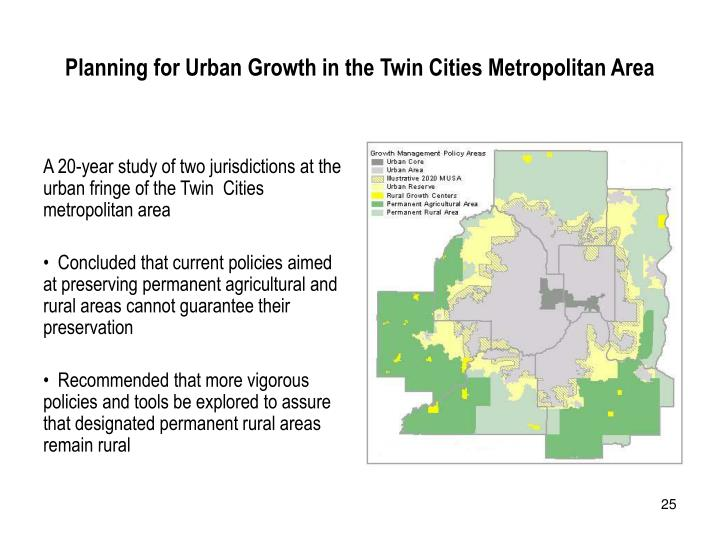 Planning for Urban Growth in the Twin Cities Metropolitan Area