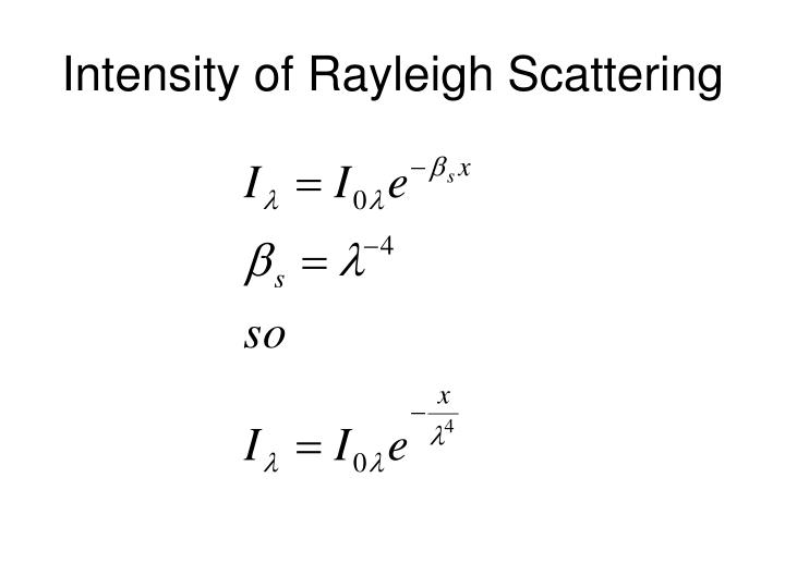 Intensity of Rayleigh Scattering