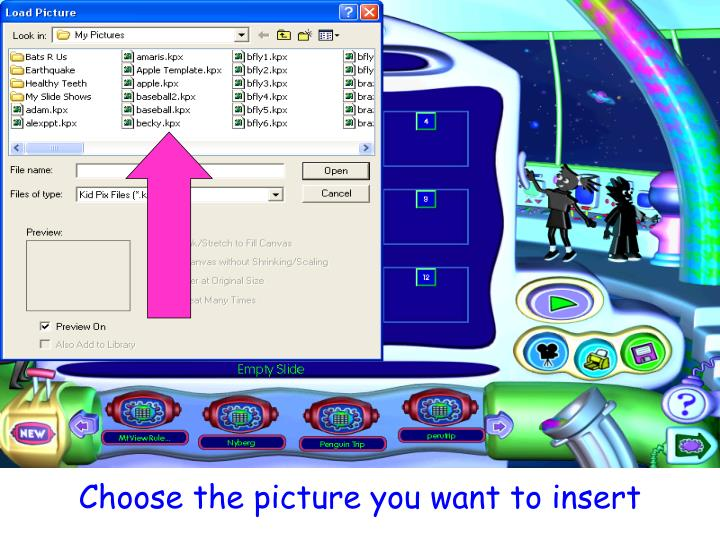 Choose the picture you want to insert