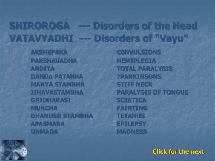 SHIROROGA   --- Disorders of the Head