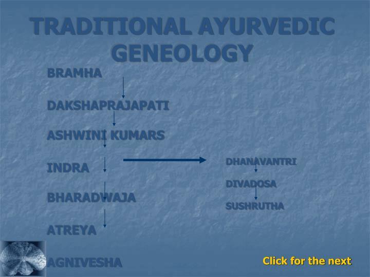 TRADITIONAL AYURVEDIC GENEOLOGY