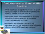 conclusions based on 30 years of pprp experience