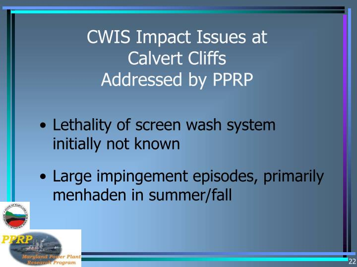 CWIS Impact Issues at