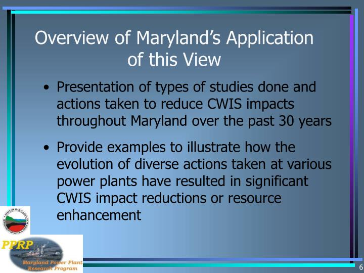 Overview of Maryland's Application