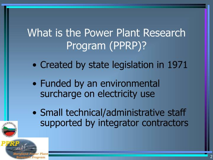 What is the power plant research program pprp