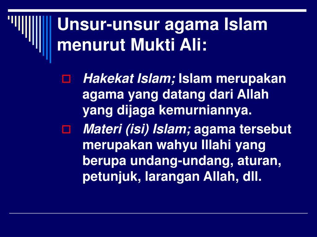 Unsur-unsur agama Islam menurut Mukti Ali: