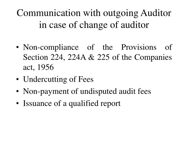 Communication with outgoing Auditor in case of change of auditor