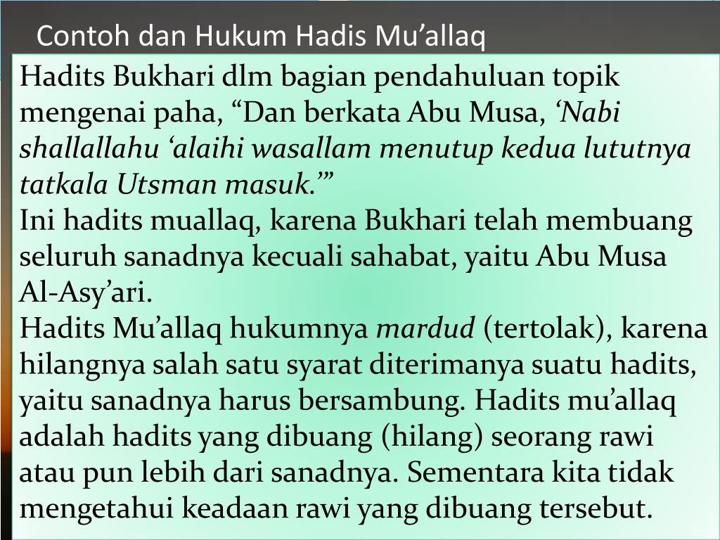 """Hadits Bukhari dlm bagian pendahuluan topik mengenai paha, """"Dan berkata Abu Musa,"""