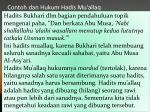 contoh dan hukum hadis mu allaq
