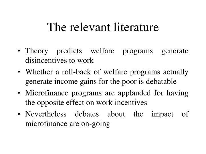 The relevant literature