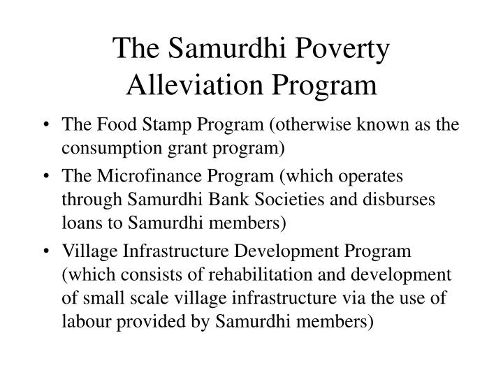 The samurdhi poverty alleviation program