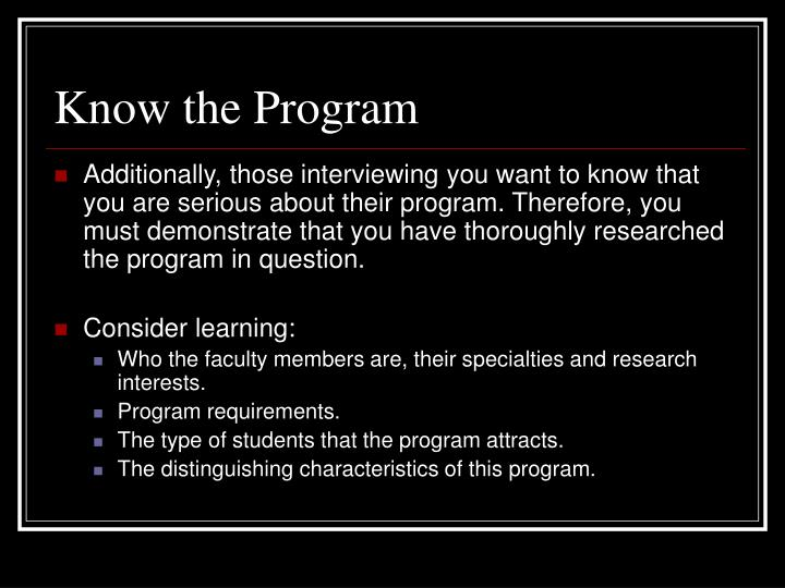 Know the Program