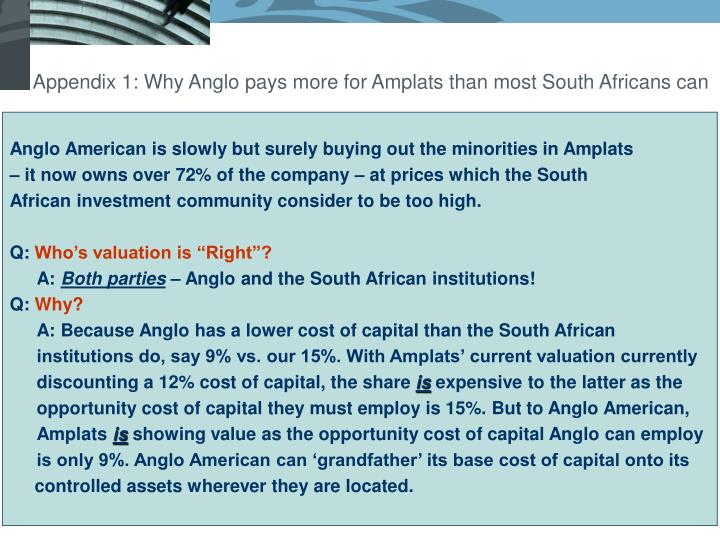 Appendix 1: Why Anglo pays more for Amplats than most South Africans can
