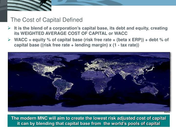 The Cost of Capital Defined