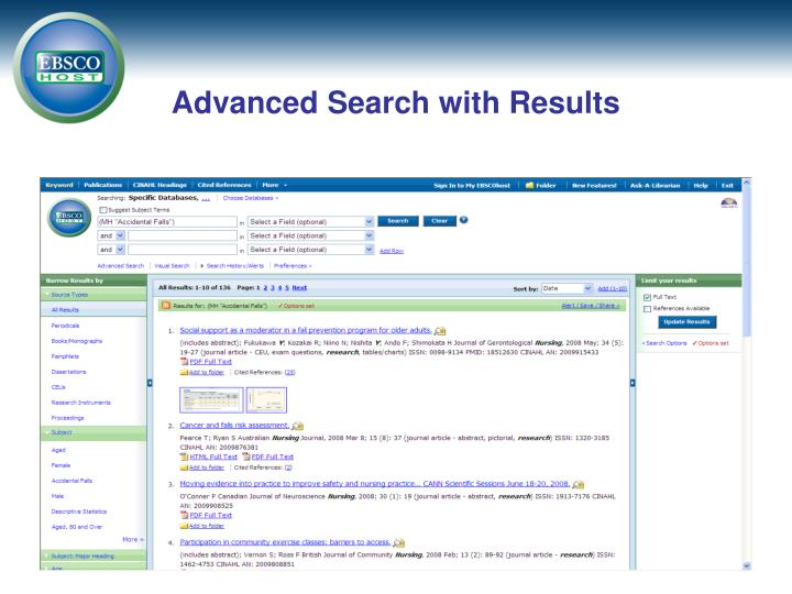 Advanced Search with Results