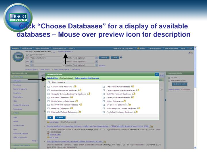 "Click ""Choose Databases"" for a display of available databases – Mouse over preview icon for description"