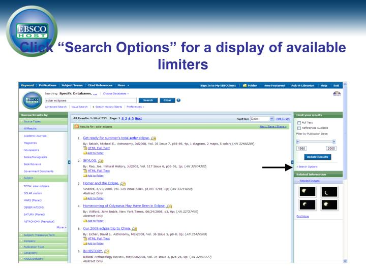 "Click ""Search Options"" for a display of available limiters"