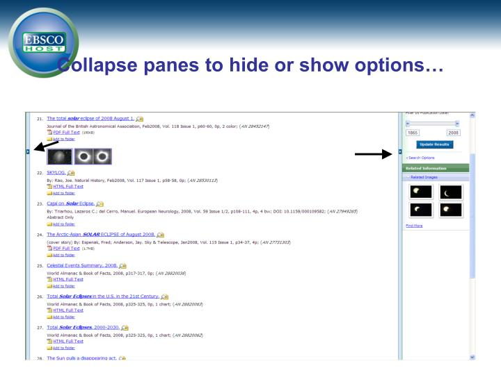 Collapse panes to hide or show options…