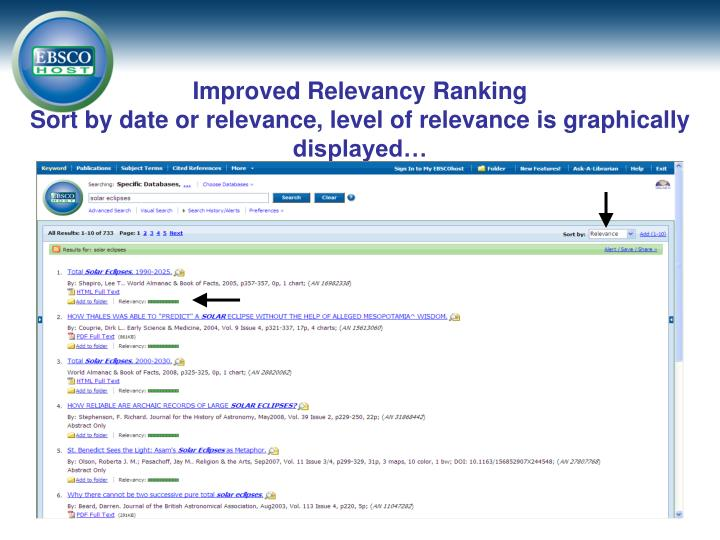 Improved Relevancy Ranking