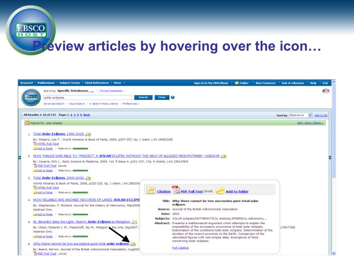 Preview articles by hovering over the icon…