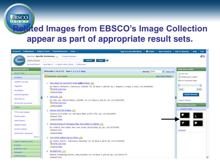 Related Images from EBSCO's Image Collection appear as part of appropriate result sets.