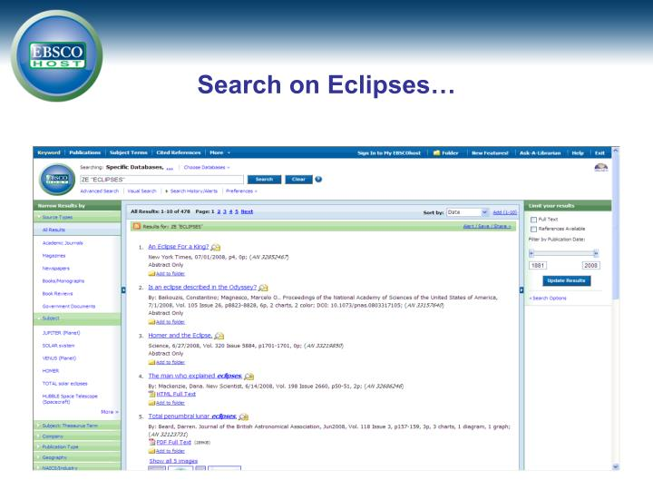 Search on Eclipses…