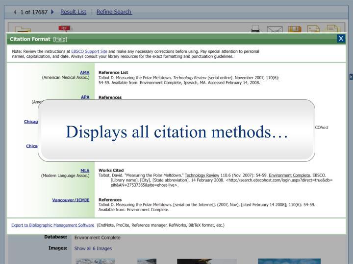 Displays all citation methods…