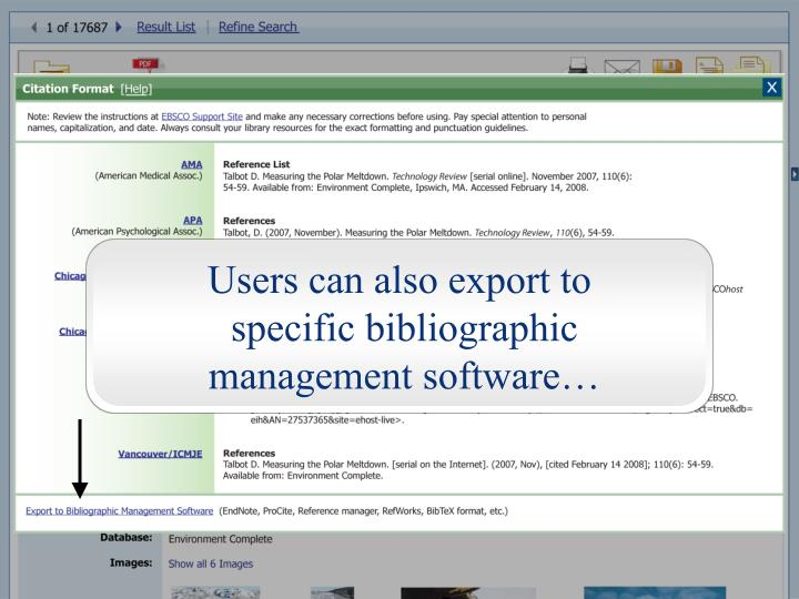 Users can also export to