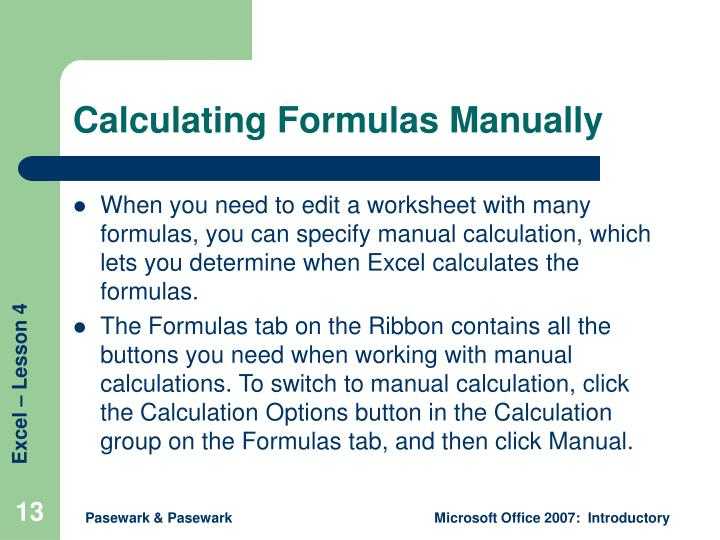Calculating Formulas Manually