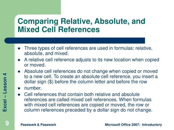 Comparing Relative, Absolute, and Mixed Cell References