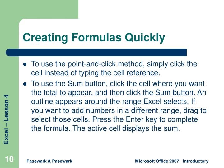 Creating Formulas Quickly