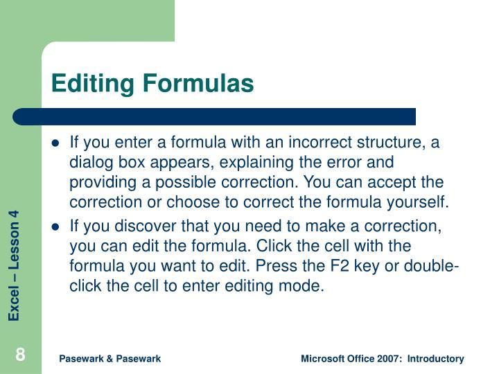 Editing Formulas